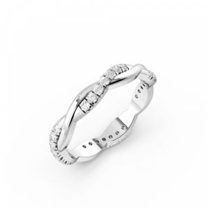 Pave Setting Round Shape Cross Over Full Diamond Eternity Ring (2.40mm)