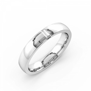 Flush Setting Baguette Shape Single Diamond Wedding Band (3.70mm)