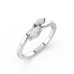 Marquise 4 Prong Unique Two Stone diamond Ring