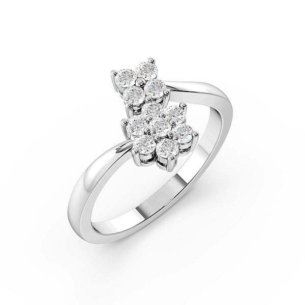 Round 4 Prong Double Cluster Diamond Ring