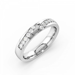 Pave Setting Round Shape Stylish Designer Diamond Wedding Band (3.50mm)