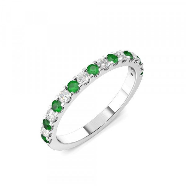 Half Eternity 4 Prong Round Diamond and Emerald Ring (2.0mm-3.0mm)