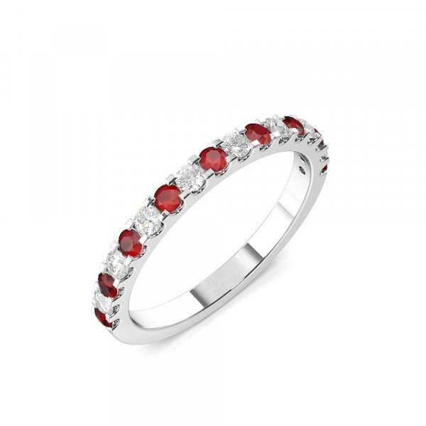 Half Eternity 4 Prong Round Diamond and Ruby Ring (2.0mm-3.0mm)