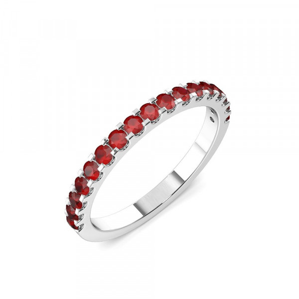 Half Eternity 4 Prong Round Ruby Ring (2.0mm-3.0mm)