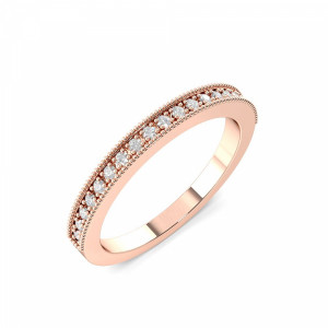 2.0mm to 3.0mm - Half Eternity Miligrain Pave Setting Round Diamond Ring