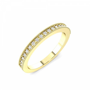 Round I1 H-I ABELINI 9K Yellow Gold 2.0mm to 3.0mm - Half Eternity Miligrain Pave Setting Round Diamond Ring