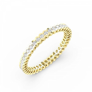 Round Shape Half Bezel Full Eternity Diamond Wedding Band (2.00mm - 3.00mm)