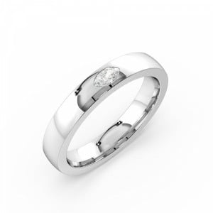 Flush Setting Marquise Shape Single Diamond Mens Diamond Ring (3.50mm)