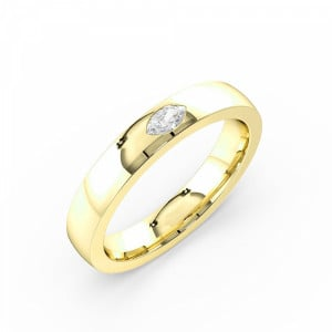 Marquise 0.10 VS H-I ABELINI 18K Yellow Gold Flush Setting Marquise Shape Single Diamond Mens Diamond Ring (3.50mm)
