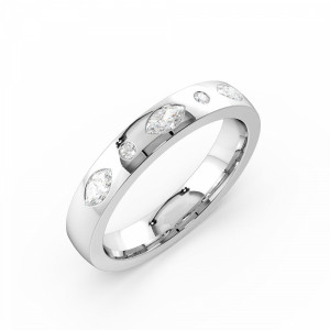 Flush Setting Round/Marquise Shape  Diamond Mens Diamond Ring (3.50mm)