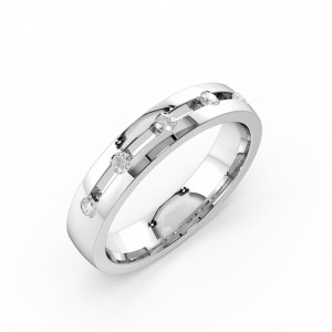 Channel Setting Round Shape 4 Diamond Wedding Ring (4.00mm)