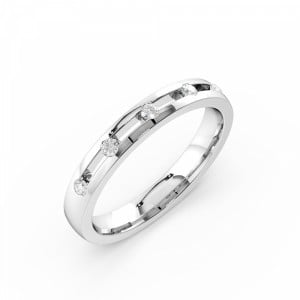 Channel Setting Round Shape 5 Diamond Wedding Ring (3.00mm)