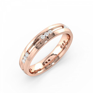 Round 0.20 I1 H-I ABELINI 18K Rose Gold Channel Setting Round Shape Trilogy Cluster Diamond Wedding Ring (4.00mm)