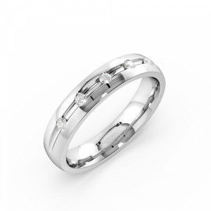 Channel Setting Round Shape Wide Diamond Wedding Ring (4.00mm)