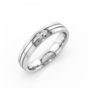 Flush Setting Round Shape Three Raw Single Mens Diamond Rings (4.00mm)