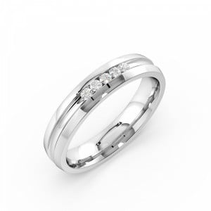 Channel Setting Round Shape 5 Diamond Cluster Mens Diamond Rings (4.00mm)