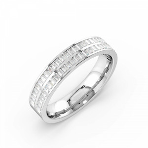 Channel Setting Baguette Shape 2 Raw Full Diamond Eternity Ring (4.30mm)