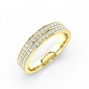 Round 0.40 VS H-I ABELINI 18K Yellow Gold Pave Setting Round Shape 2 Raw Full Diamond Eternity Ring (4.50mm)