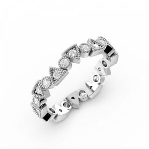 Pave Setting Round Shape Triangle & Round Shape Full Diamond Eternity Ring (3.50mm)