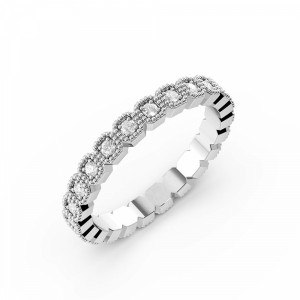 Pave Setting Round Shape Miligrain Cushion Shape Full Diamond Eternity Ring (2.50mm)