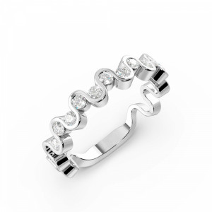 Channel Setting Round Shape Designer Wave Half Diamond Eternity Ring (3.70mm)