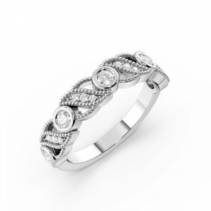Bezel Setting Round Shape Miligrain Vintage Style Half Diamond Eternity Ring (4.50mm)