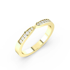 Round Shape Pave Setting Shaped Wedding Band (2.50mm)