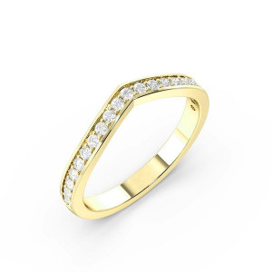 Round Shape Pave Setting V Shaped Wishbone Wedding Band (2.50mm)