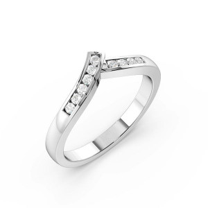 Round Shape Channel Setting Ribbon Style Wishbone Wedding Ring (2.50mm)
