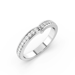 Round Shape Pave Setting V Shaped Wedding Band (2.50mm)