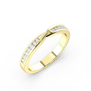 Round Shape channel Setting Twisted Shaped Wedding Band (2.40mm)