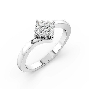 Round Pave Setting Twisted Shoulder Cluster Diamond Engagement Ring