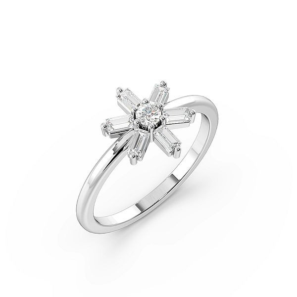 Baguette And Round Flower Style Minimalist Designer Ring Cluster Ring