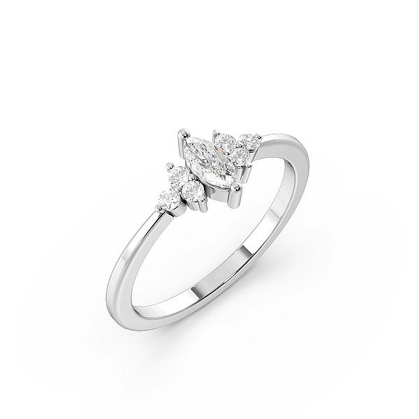 Marquise And Round 4 Prong Designer Cluster Diamond Ring
