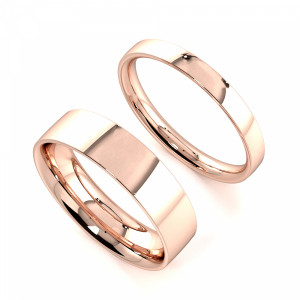 Flat Profile Couple plain women wedding bands his and her (2.0 - 6.0mm)