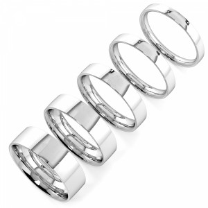 Flat Profile plain women wedding bands (2.0 - 6.0mm)