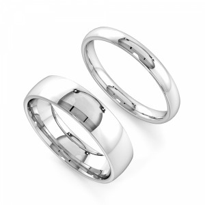 Court Profile Couple plain women wedding bands his and her (2.0 - 6.0mm)