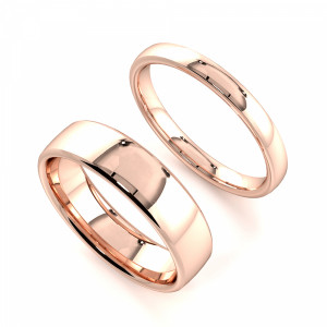 Light Court Profile Couple plain women wedding bands his and her (2.0 - 6.0mm)