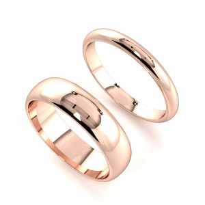 D-Profile Couple plain women wedding bands his and her (2.0 - 6.0mm)