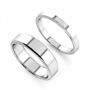 Bevelled Edge Profile Couple plain women wedding bands his and her (2.0 - 6.0mm)