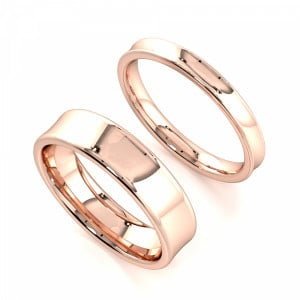 Concave Profile Couple plain women wedding bands his and her (2.0 - 6.0mm)