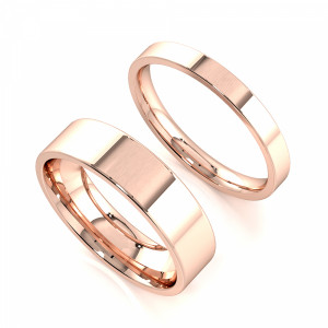 Flat Smooth Edge Profile Couple plain women wedding bands his and her (2.0 - 6.0mm)