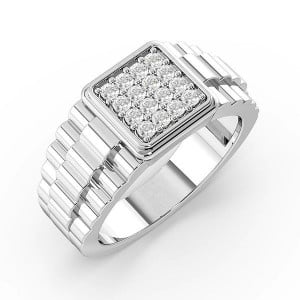 Round Cut Pave Setting Cluster Mens Diamond Rings (3.5mm)