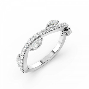 Marquise & Round Pave Setting Modern Style Full Eternity Diamond Rings (4.9mm)