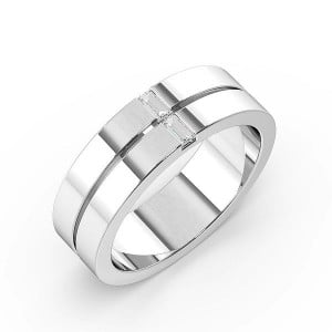 Baguette and Round Channel Set Mens Diamond Wedding Rings (1.7mm)