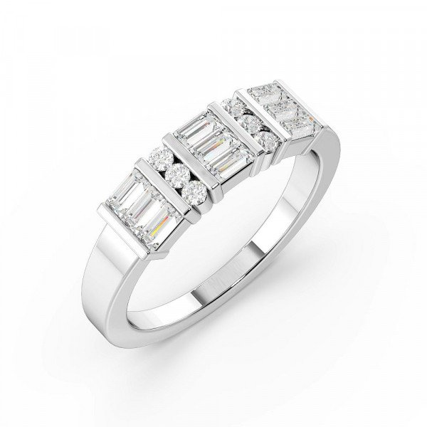 Baguette and Pave Setting Cluster Designer Diamond Rings (5.2mm)