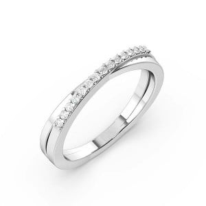 Pave Setting Cross Over Womens Diamond Wedding Rings (2.3mm)