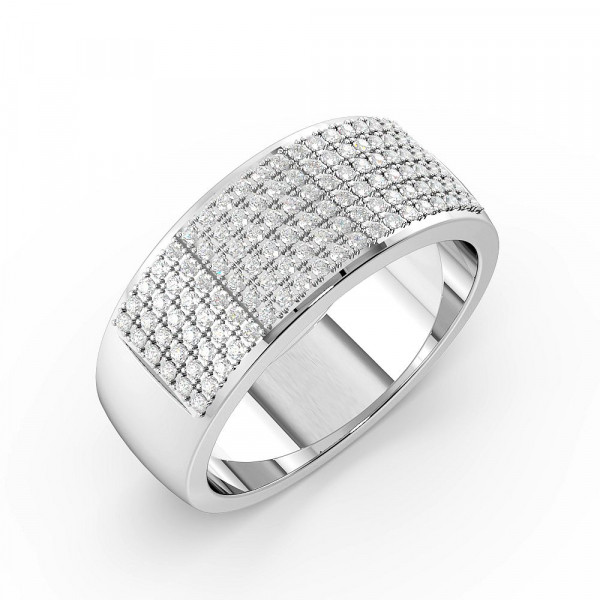 Pave Setting Wide Cluster Half Eternity Diamond Rings