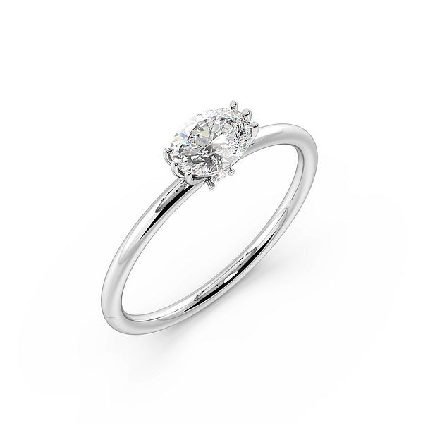 Vertical Oval Shape Tri Claws Solitaire Diamond Engagement Ring