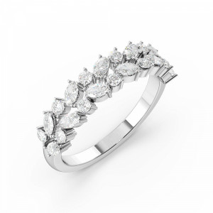 Marquise and Round 2 Rows Designer Half Eternity Diamond Rings